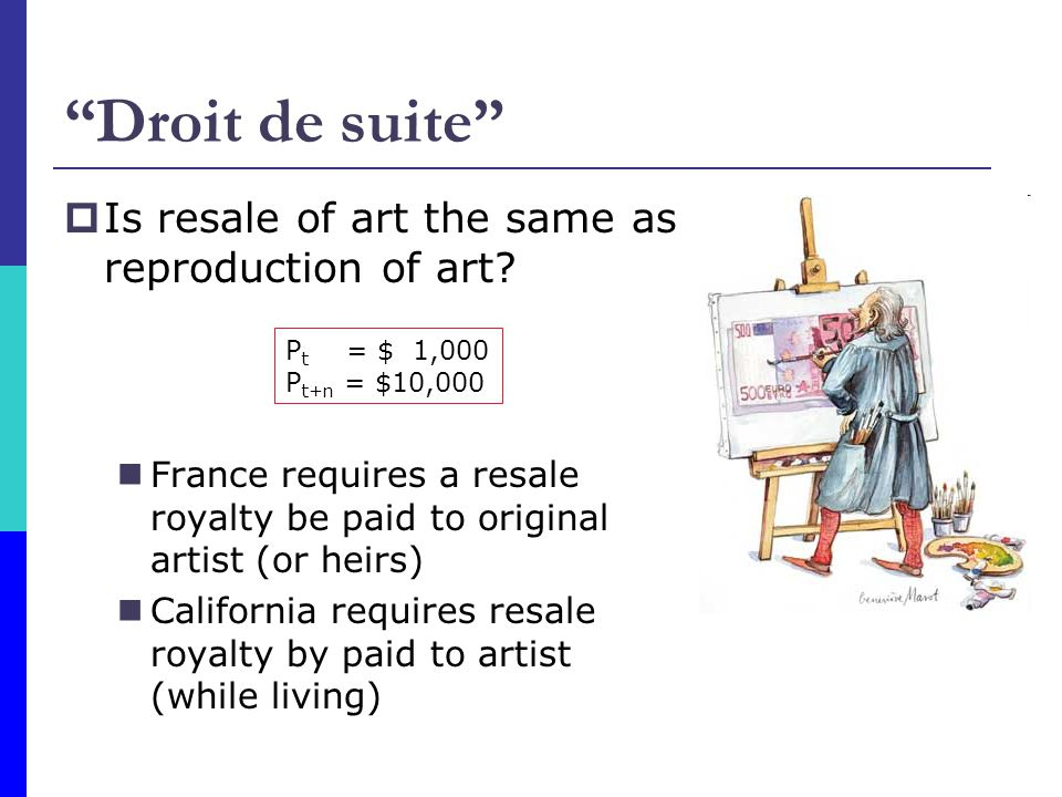 Droit de suite Is resale of art the same as reproduction of art