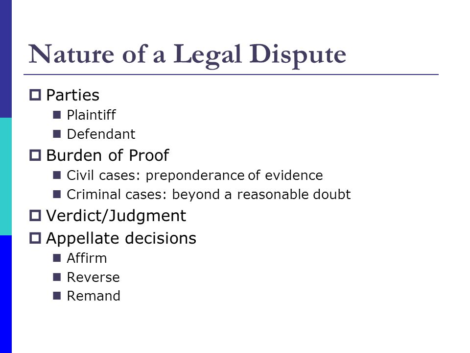 Nature of a Legal Dispute