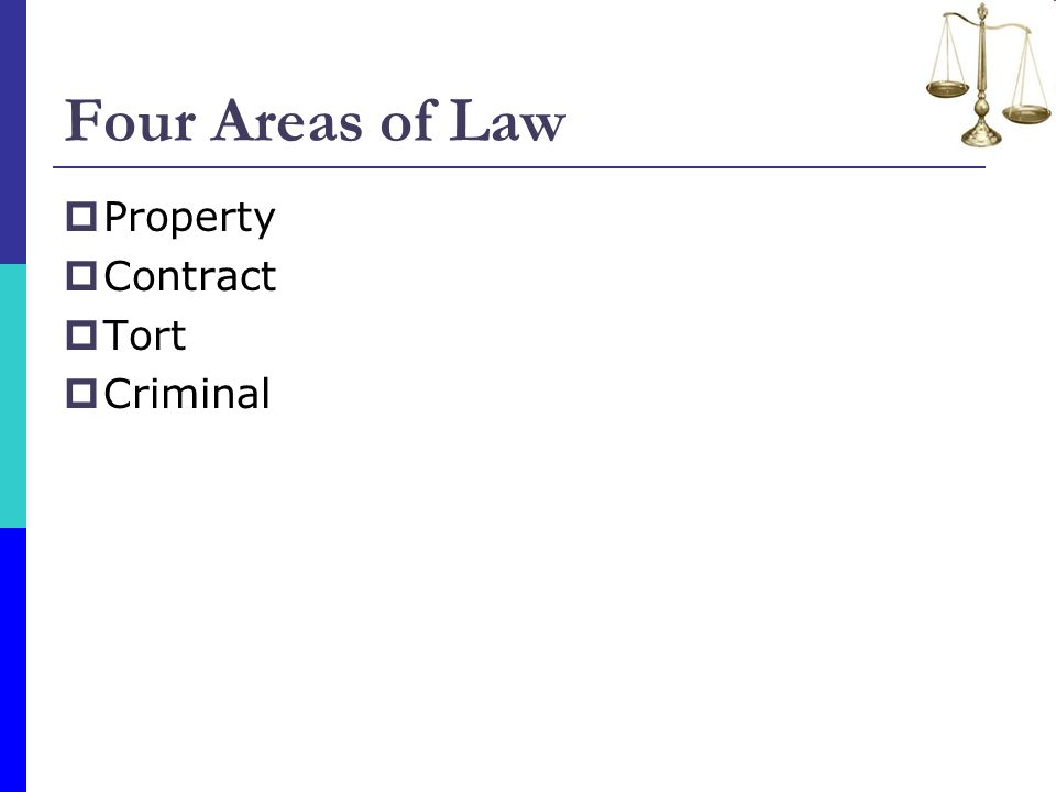 Four Areas of Law Property Contract Tort Criminal
