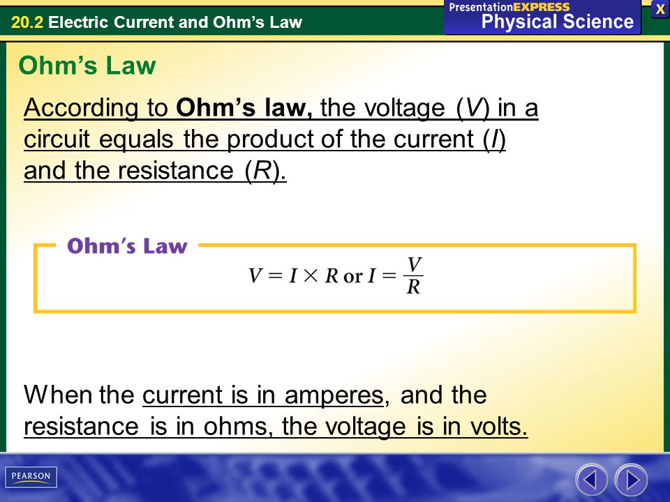 Ohm's Law According to Ohm's law, the voltage (V) in a circuit equals the product of the current (I) and the resistance (R).