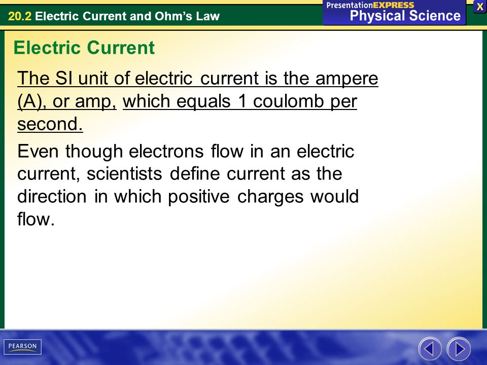 Electric Current The SI unit of electric current is the ampere (A), or amp, which equals 1 coulomb per second.