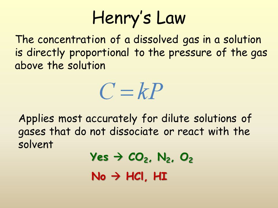 Henry's Law The concentration of a dissolved gas in a solution is directly proportional to the pressure of the gas above the solution.