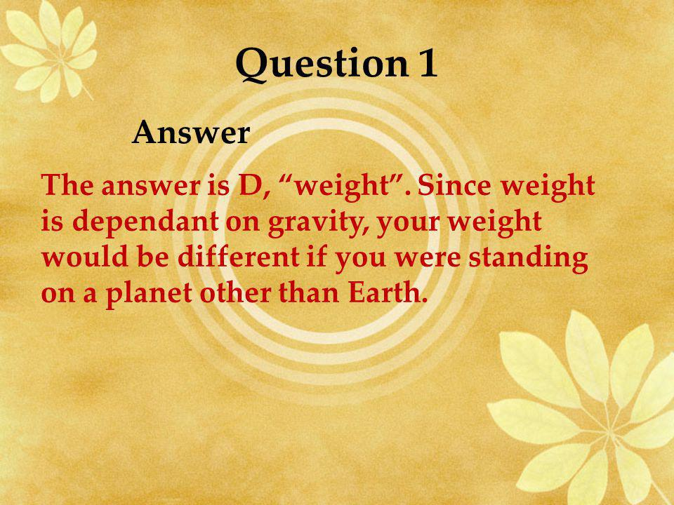 Question 1 Answer.