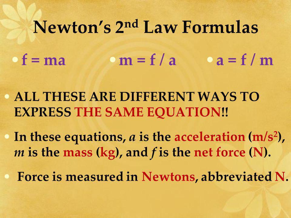Newton's 2nd Law Formulas