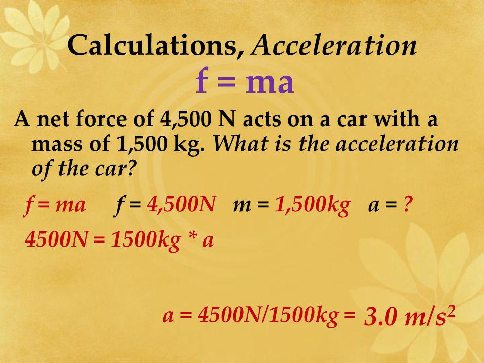 Calculations, Acceleration