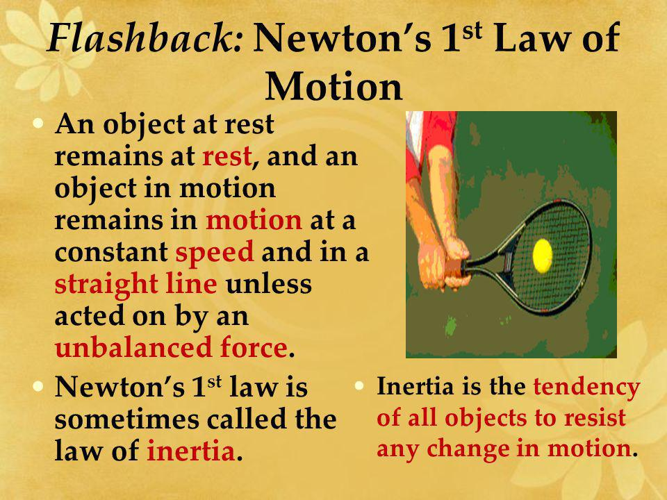 Flashback: Newton's 1st Law of Motion