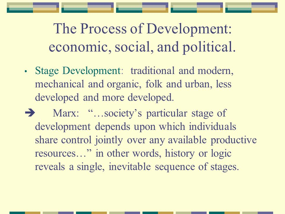 The Process of Development: economic, social, and political.