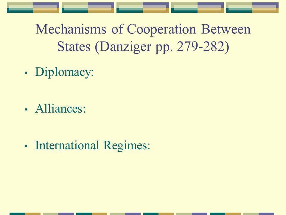 Mechanisms of Cooperation Between States (Danziger pp. 279-282)