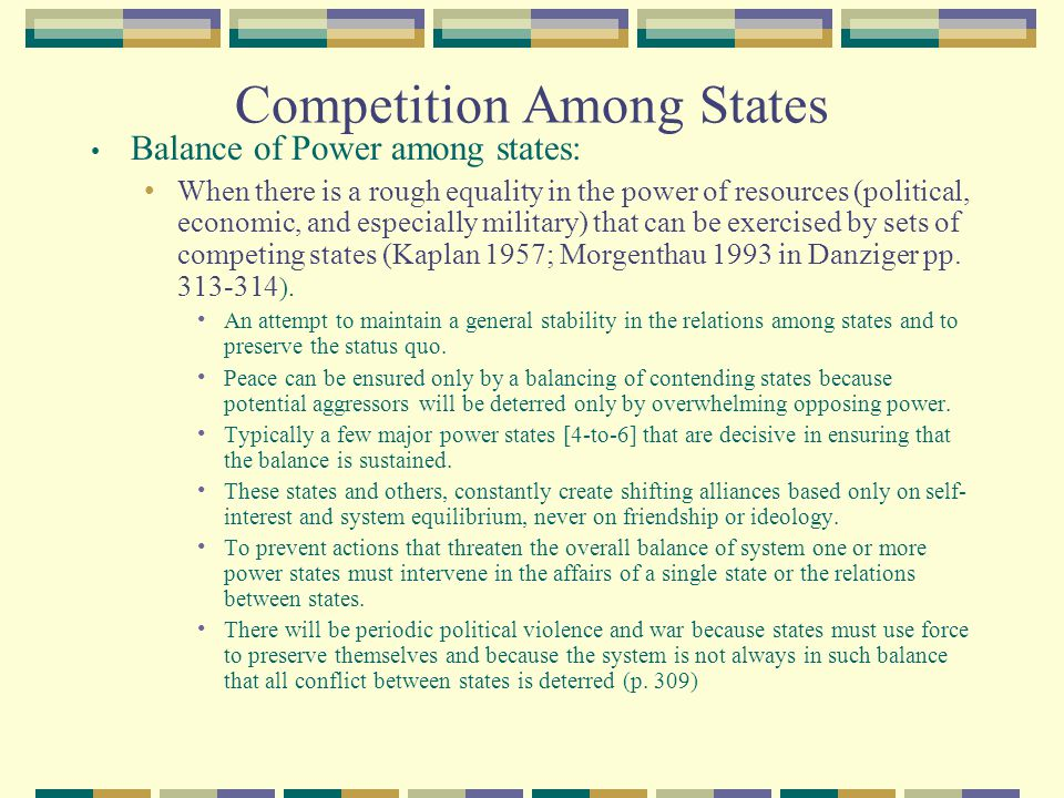Competition Among States