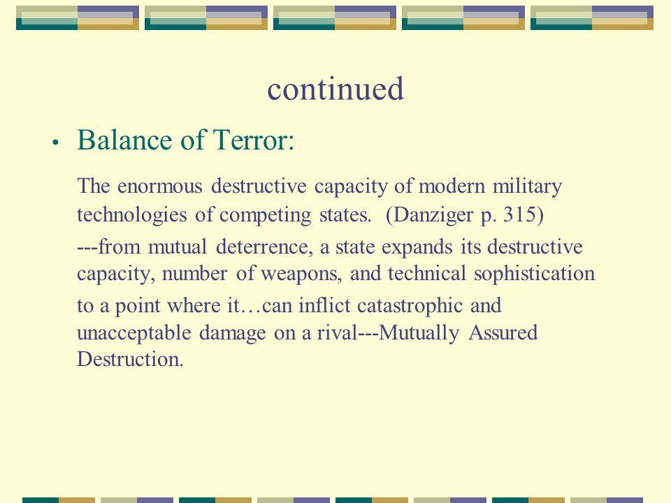 continued Balance of Terror: