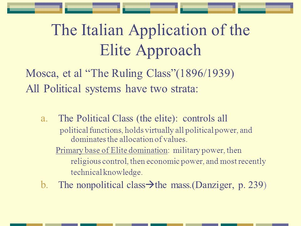 The Italian Application of the Elite Approach