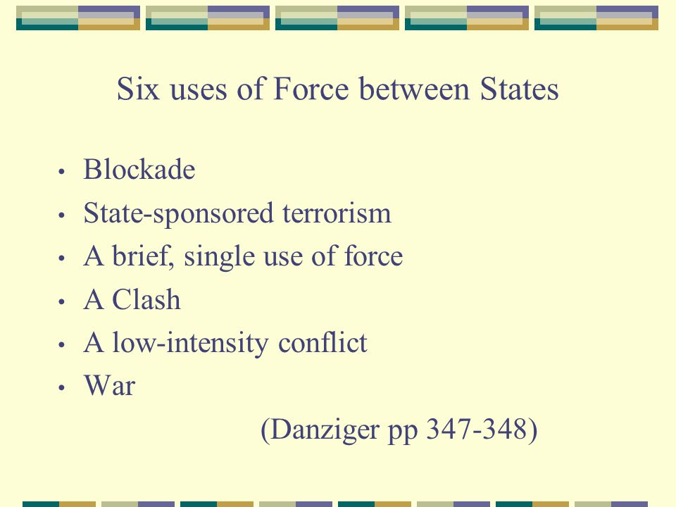 Six uses of Force between States