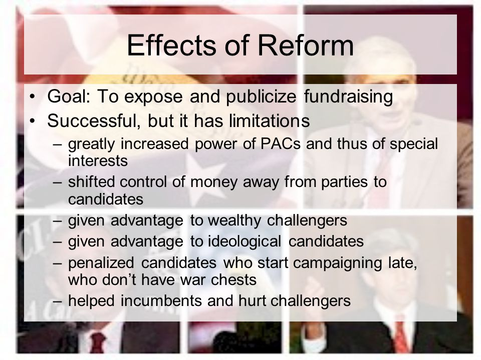 Effects of Reform Goal: To expose and publicize fundraising