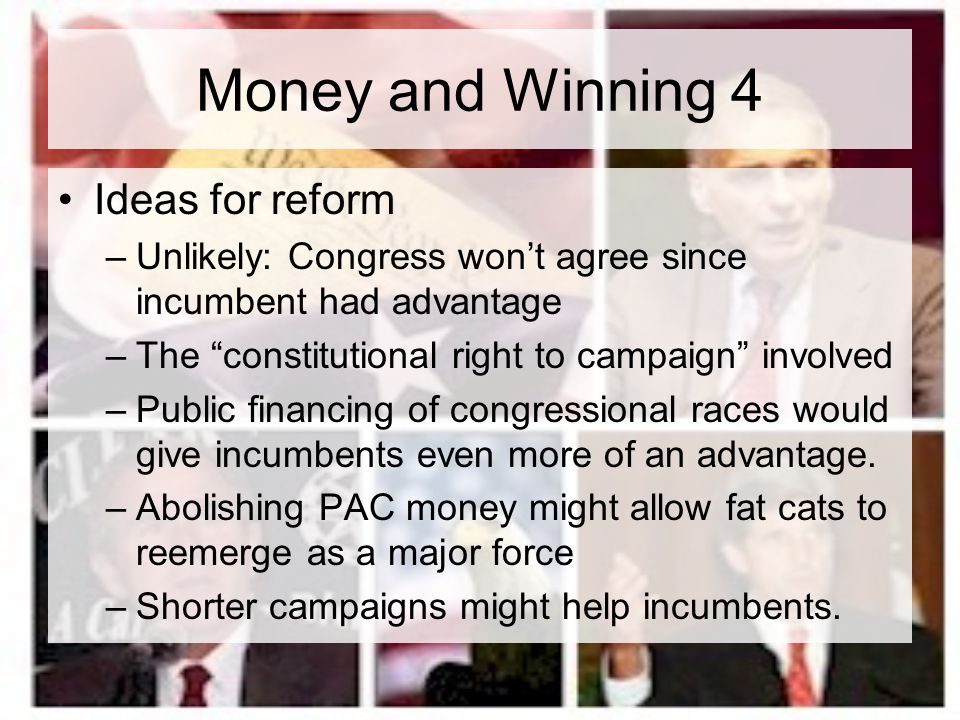 Money and Winning 4 Ideas for reform