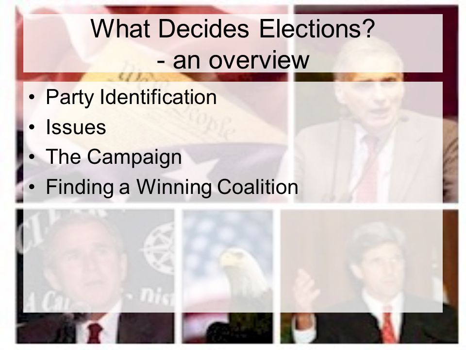 What Decides Elections - an overview