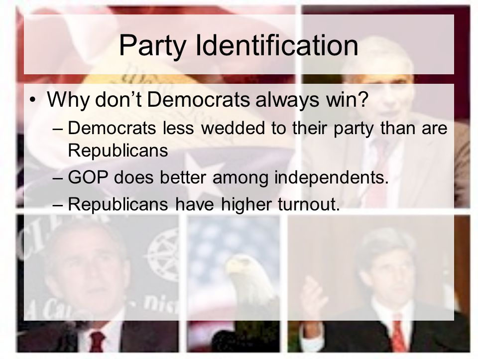 Party Identification Why don't Democrats always win