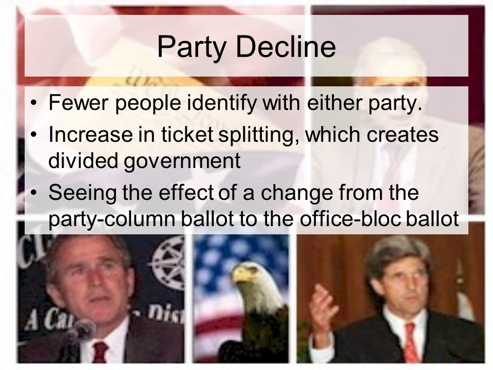Party Decline Fewer people identify with either party.