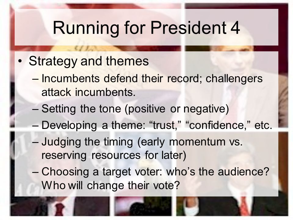 Running for President 4 Strategy and themes