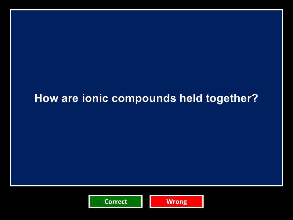How are ionic compounds held together