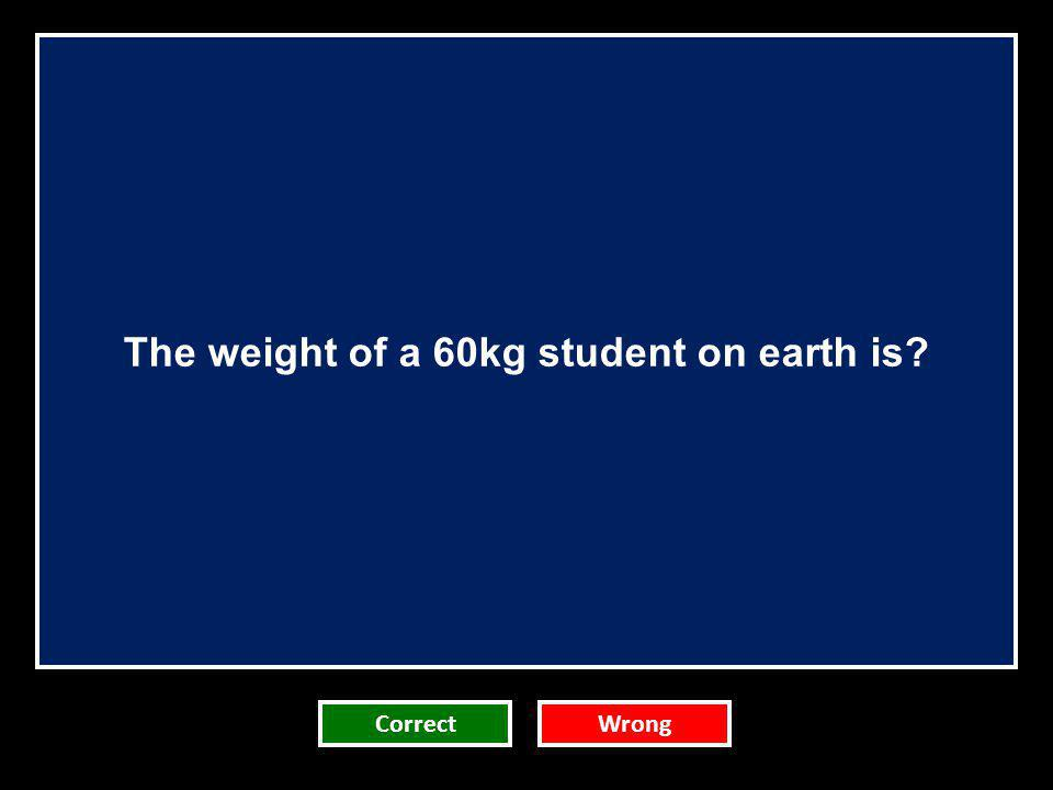 The weight of a 60kg student on earth is