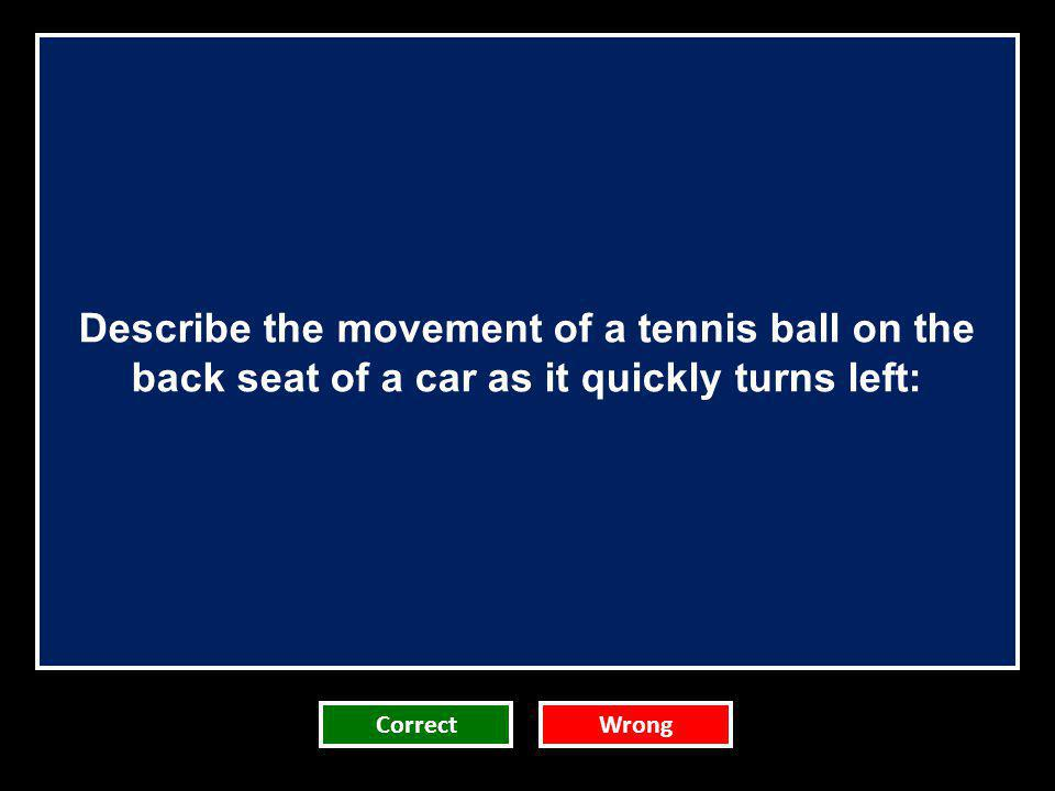 Describe the movement of a tennis ball on the back seat of a car as it quickly turns left: