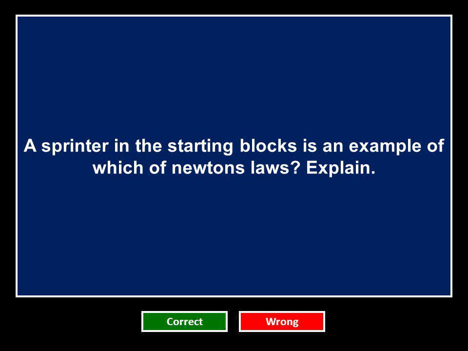 A sprinter in the starting blocks is an example of which of newtons laws Explain.