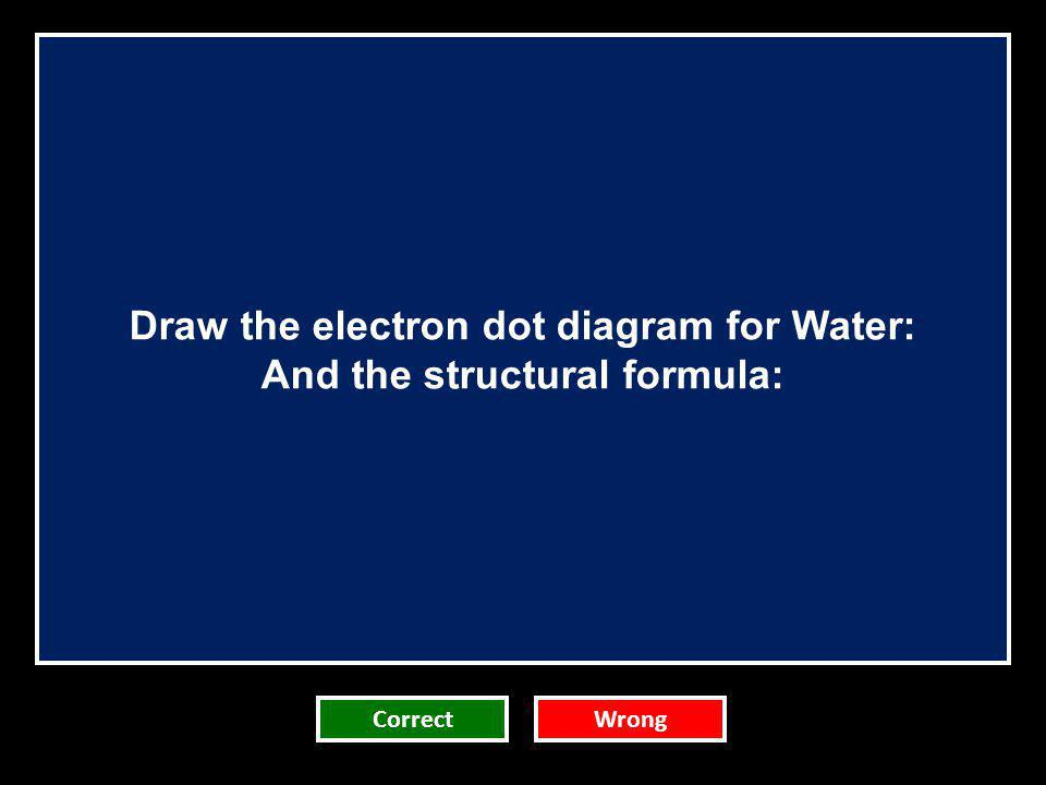 Draw the electron dot diagram for Water: And the structural formula: