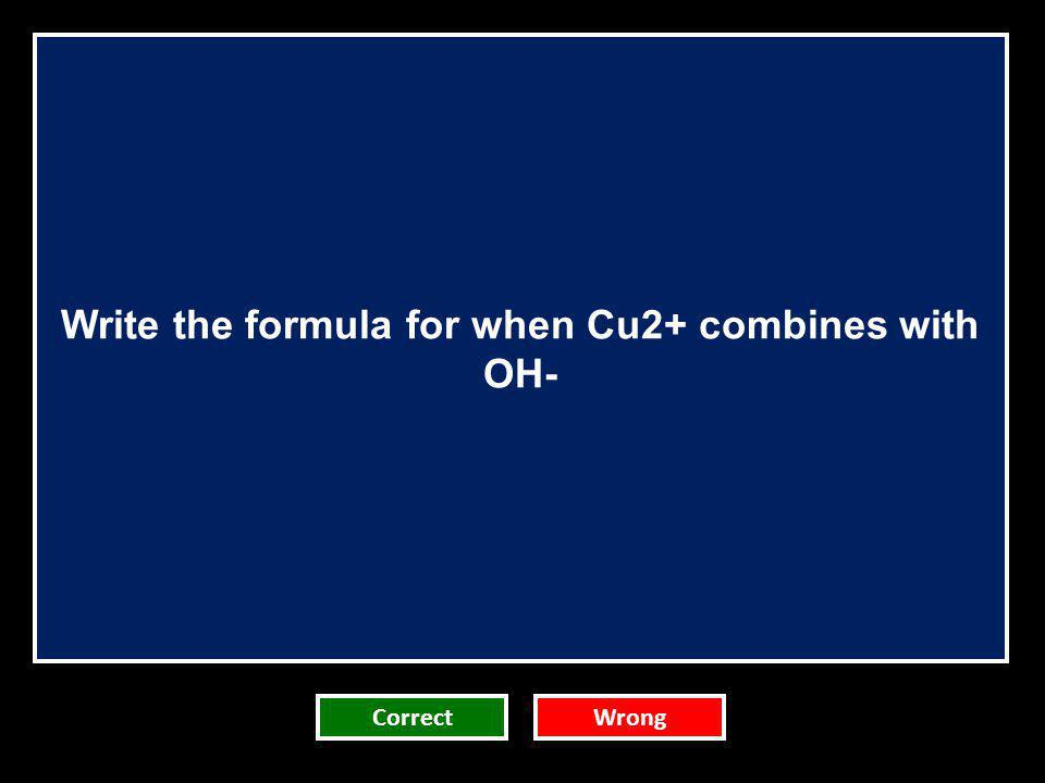 Write the formula for when Cu2+ combines with OH-