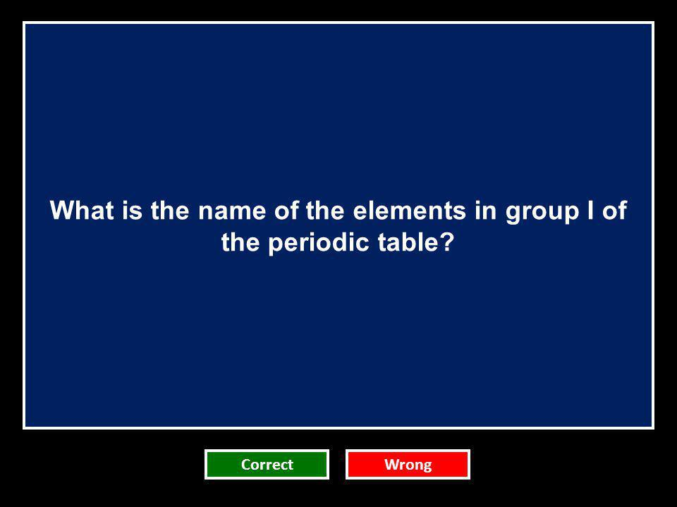 What is the name of the elements in group I of the periodic table
