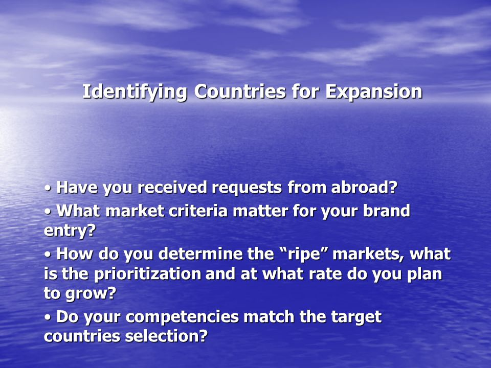 Identifying Countries for Expansion