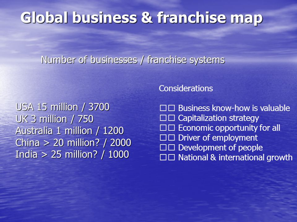 Global business & franchise map