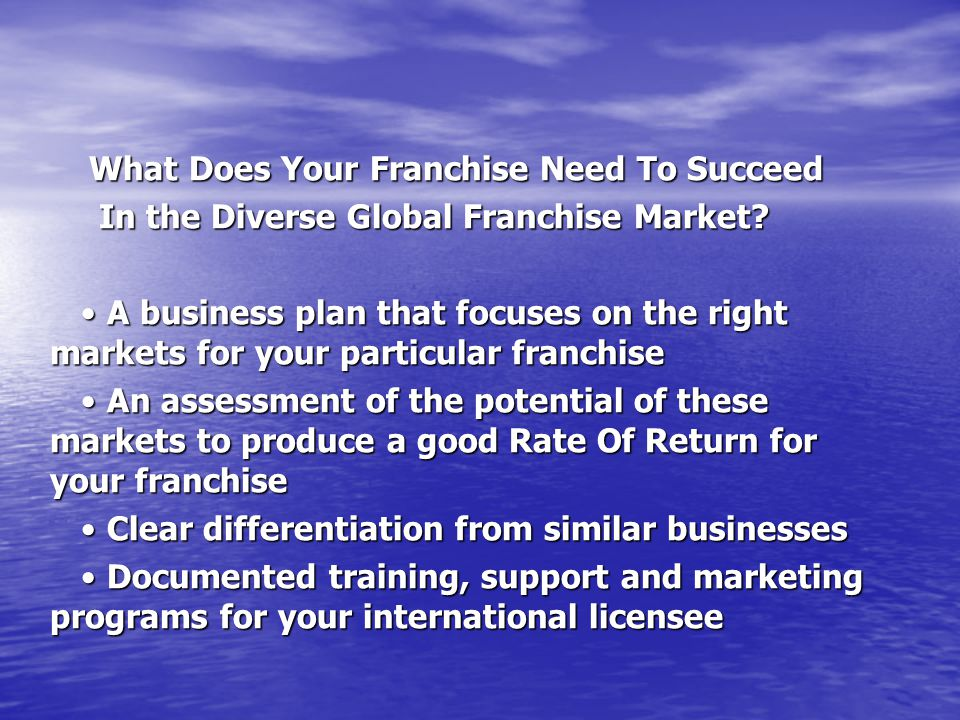 What Does Your Franchise Need To Succeed