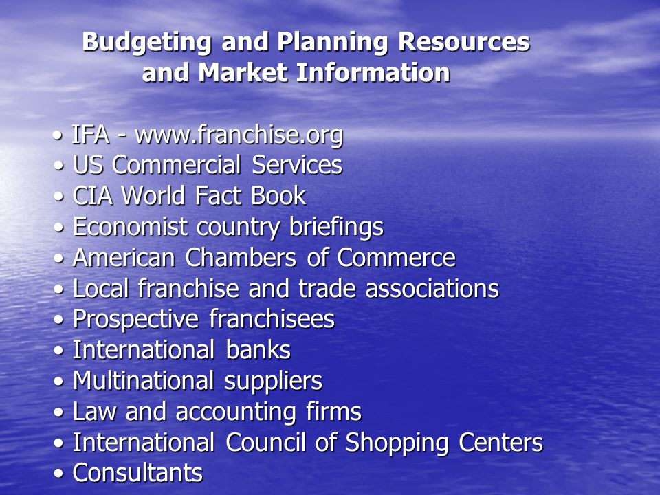 Budgeting and Planning Resources and Market Information • IFA - www
