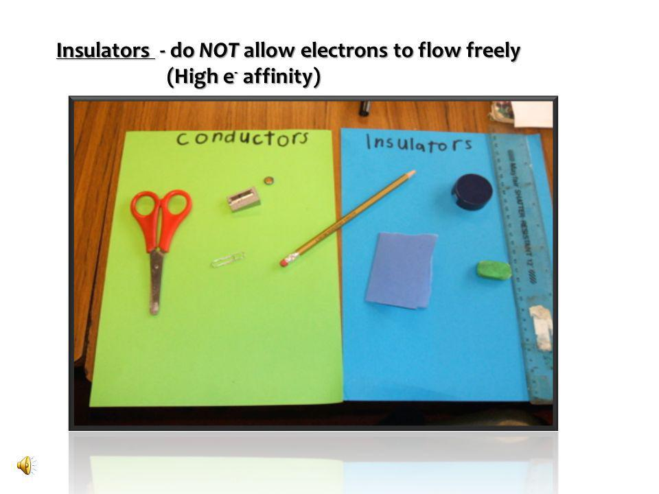 Insulators - do NOT allow electrons to flow freely