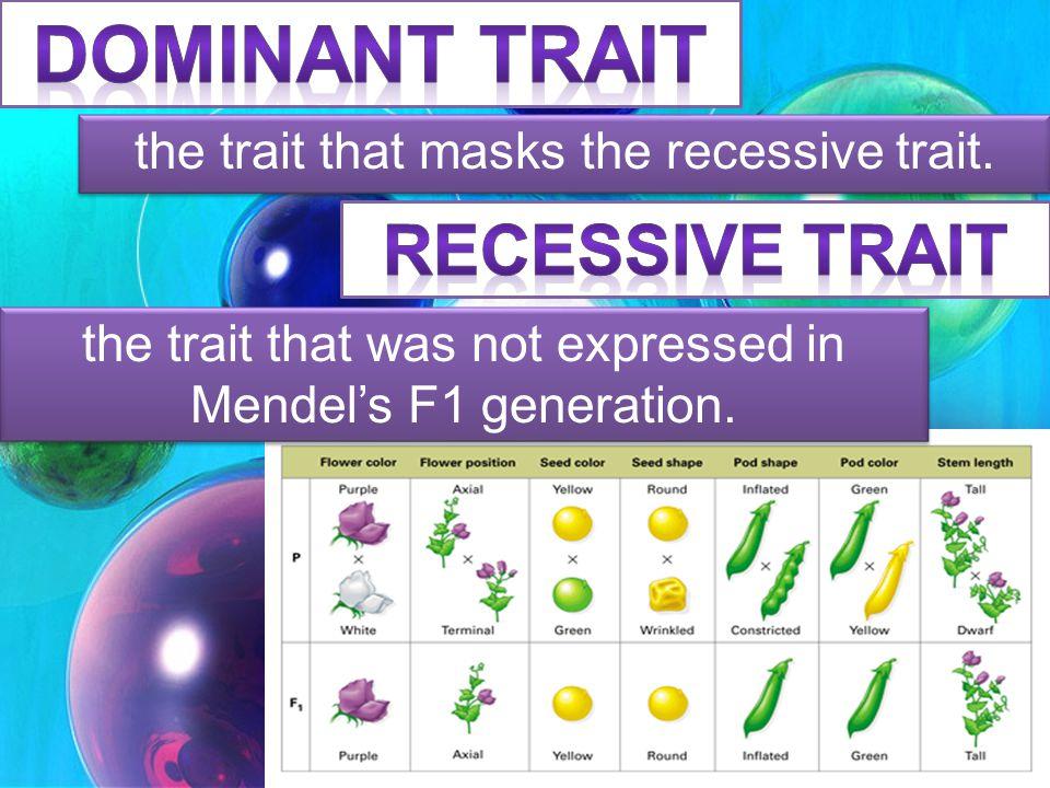 DOMINANT TRAIT Recessive Trait