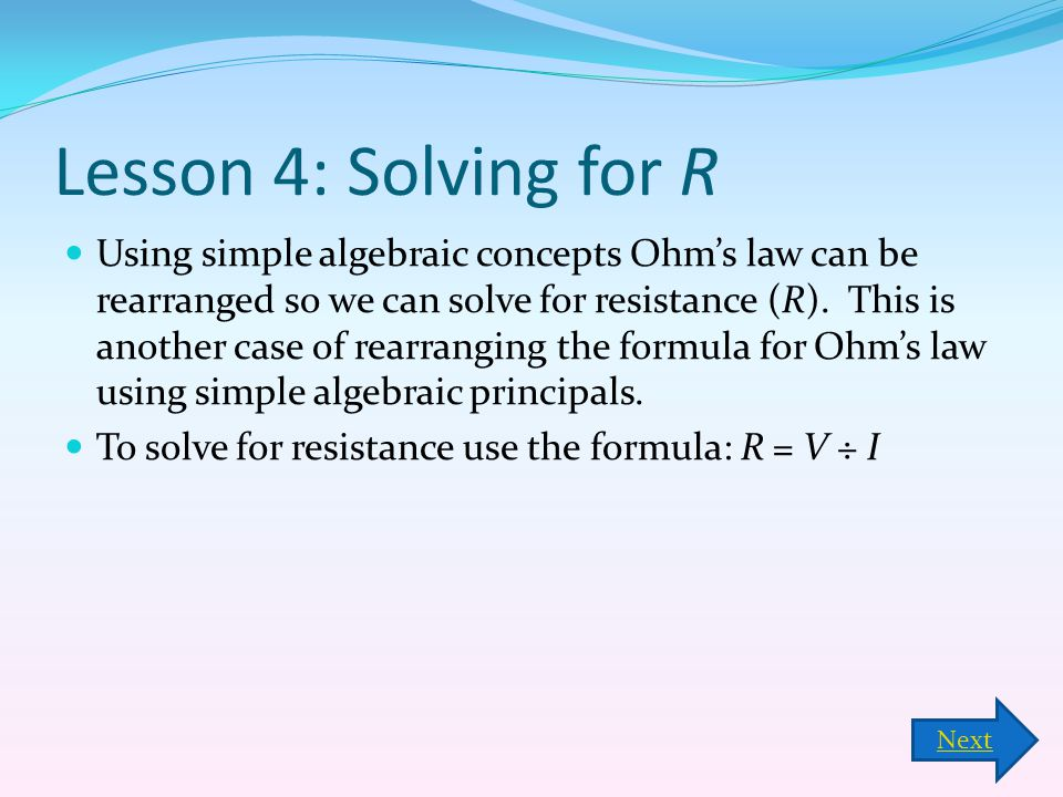 Lesson 4: Solving for R