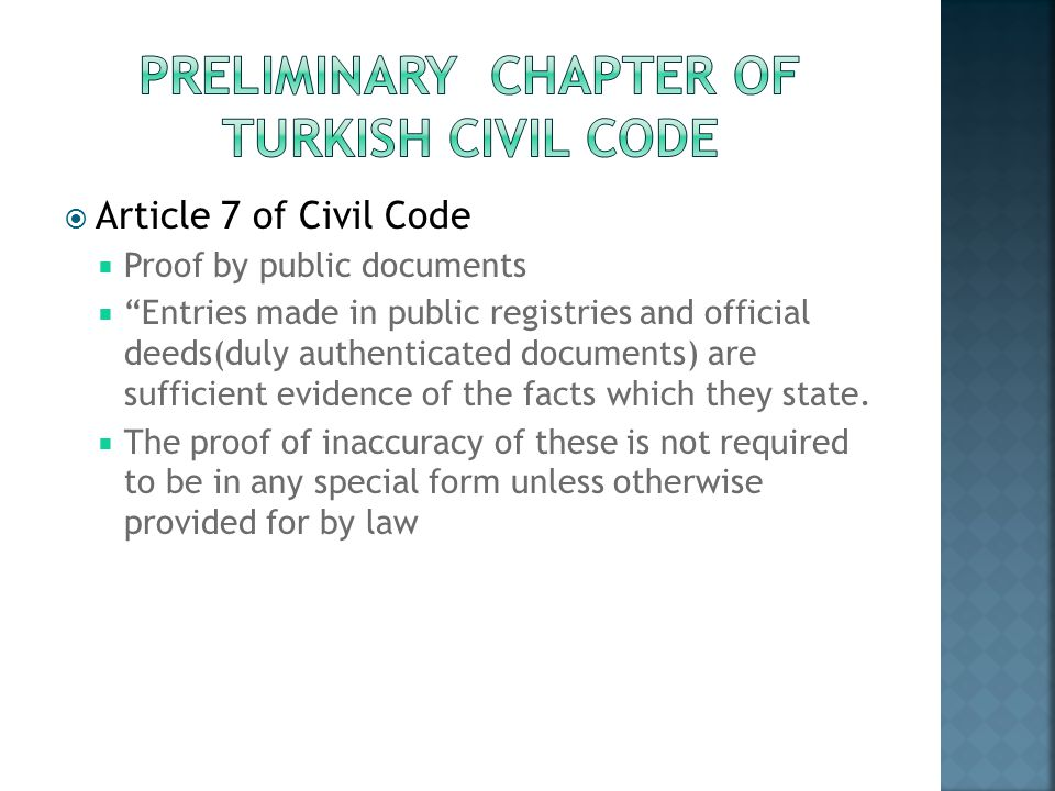 Preliminary Chapter of Turkish Civil Code