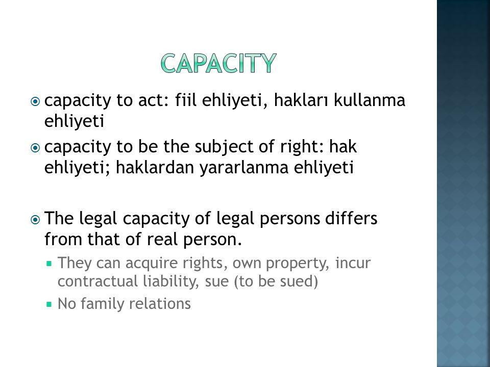 Capacity capacity to act: fiil ehliyeti, hakları kullanma ehliyeti
