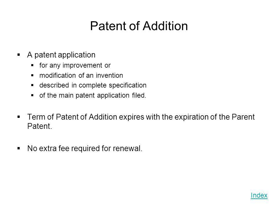 Patent of Addition A patent application