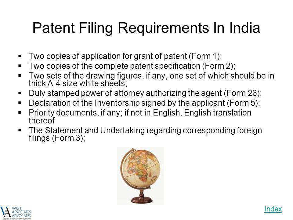 Patent Filing Requirements In India