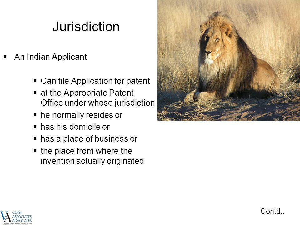 Jurisdiction An Indian Applicant Can file Application for patent