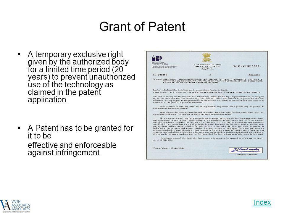 Grant of Patent