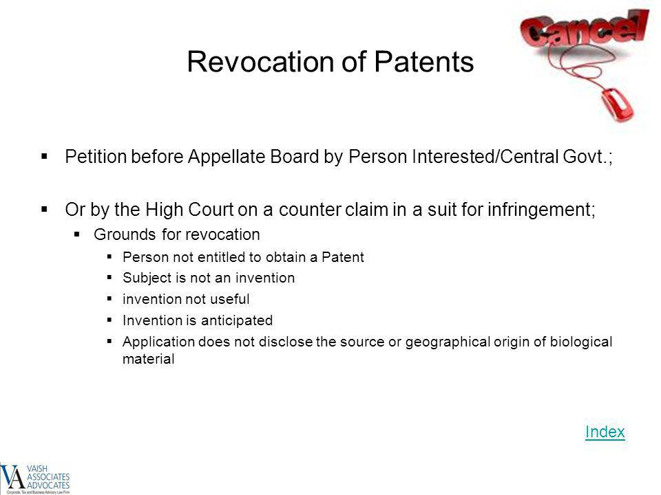 Revocation of Patents Petition before Appellate Board by Person Interested/Central Govt.;