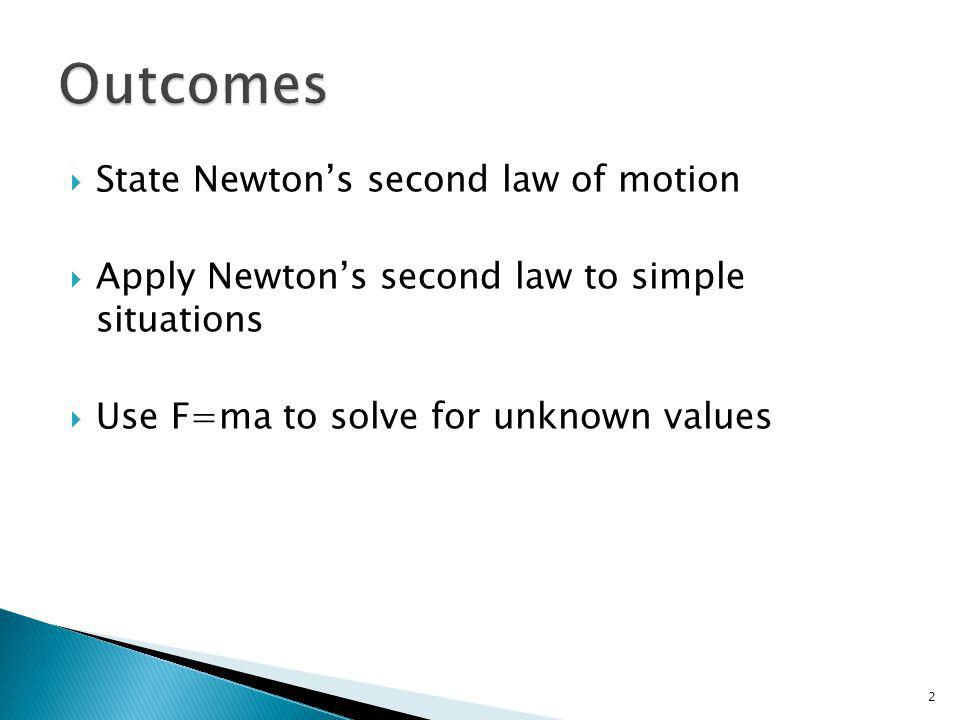 Outcomes State Newton's second law of motion