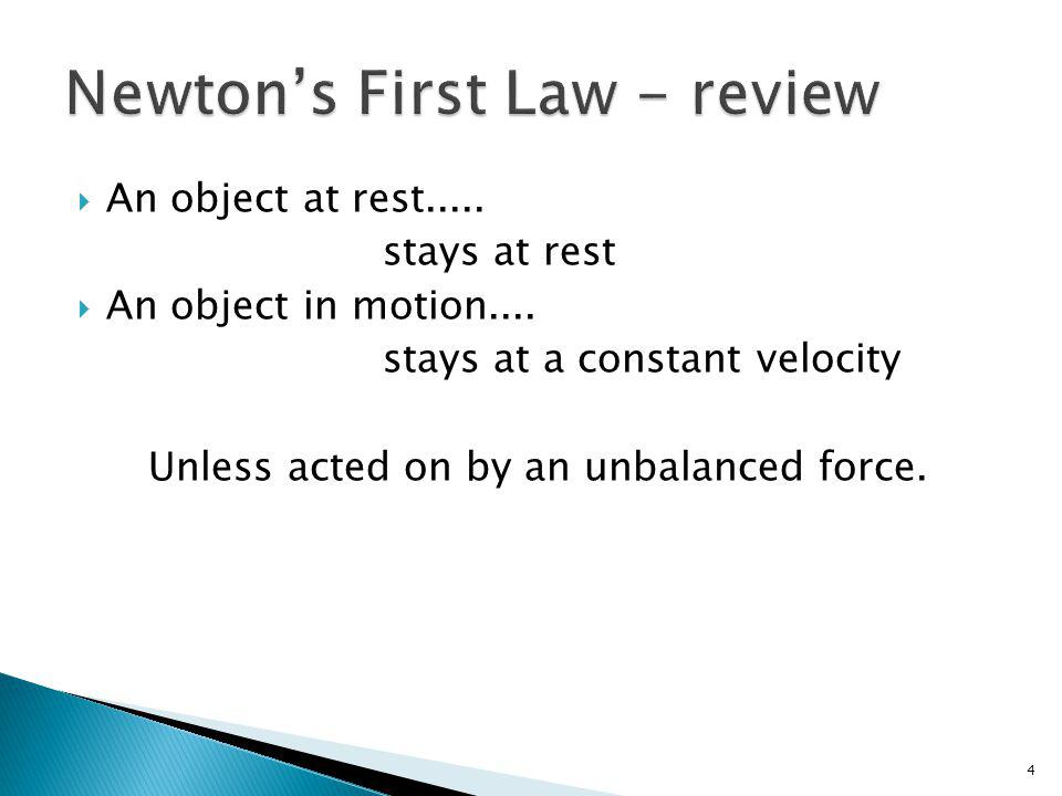Newton's First Law - review