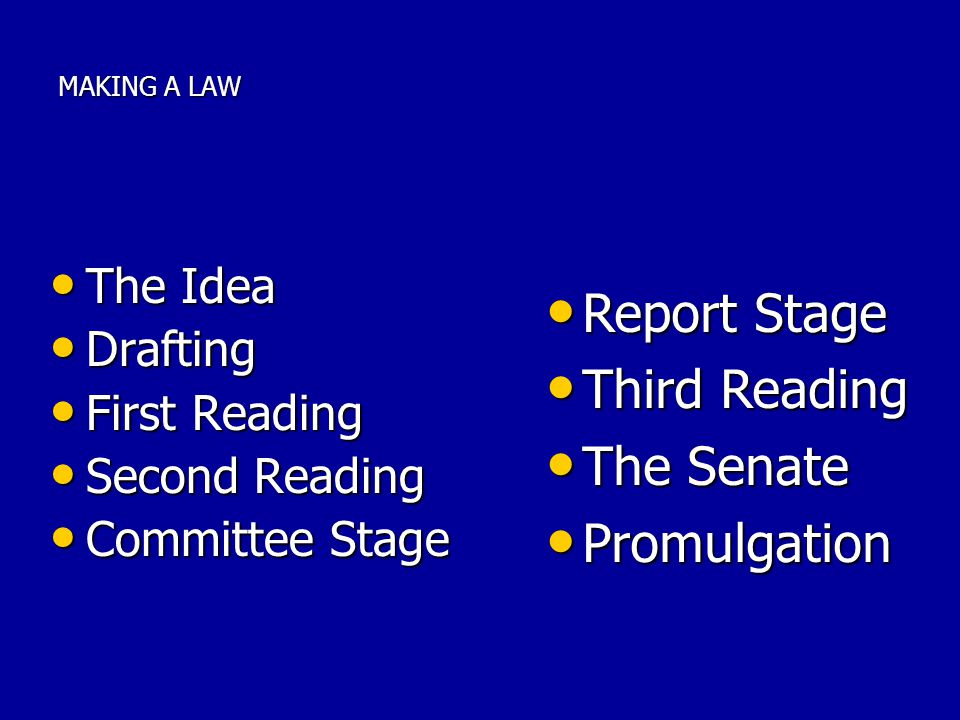 Report Stage Third Reading The Senate Promulgation The Idea Drafting