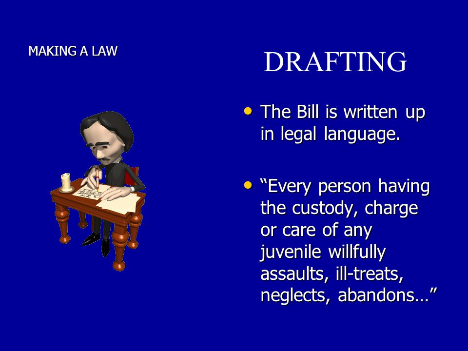 DRAFTING The Bill is written up in legal language.