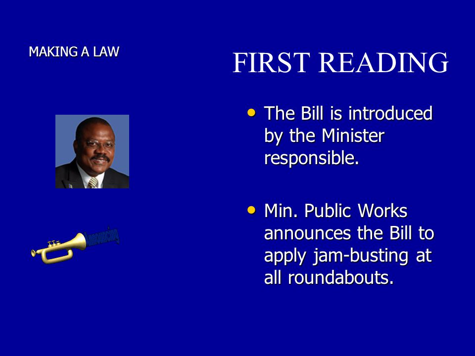 FIRST READING The Bill is introduced by the Minister responsible.