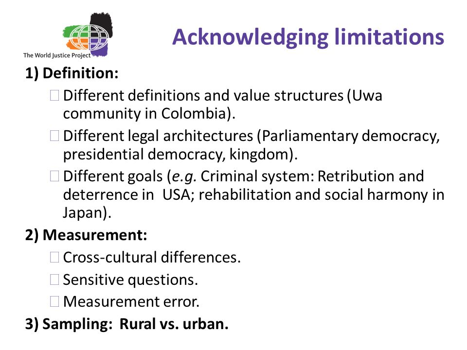 Acknowledging limitations