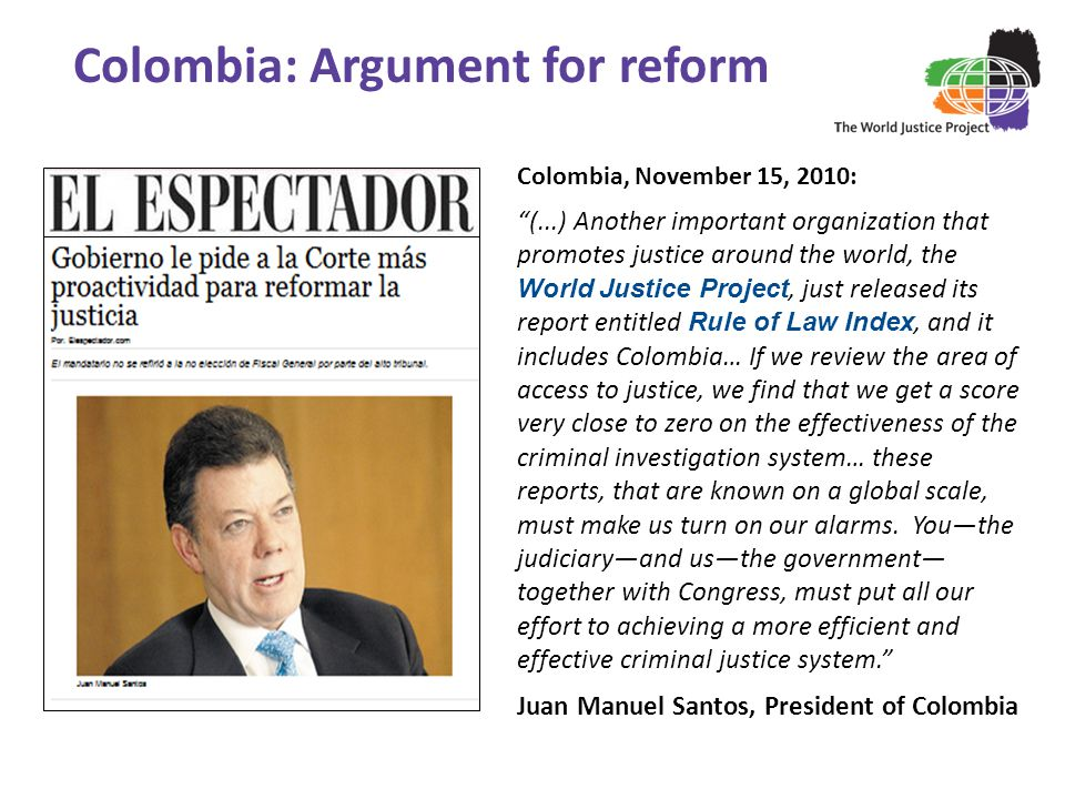 Colombia: Argument for reform